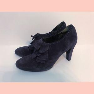 Grape Purple Suede Tassel Layered Toe Heels